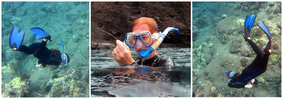 UH PhD student Amanda Shore participating in Trilogy Excursions' Blue`Aina project