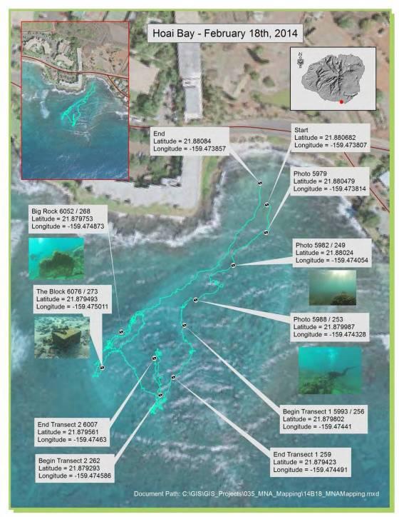 map of scuba diving surveys showing coral photos
