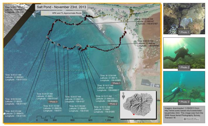 map of scuba diving survey showing photos of coral reefs